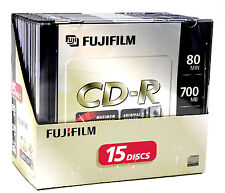 (15-Pack) Fujifilm Blank CD-R 80min 700MB 48x Recordable w/ Slim Jewel Cases NEW
