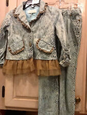RARE $117 BOUTIQUE TRISH SCULLY CHILD DIVA BLAZER/PANT FAUXSUEDE SNAKESKIN 4TNWO