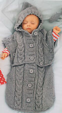 Chunky Cable Baby Sleeping Bag - Converts to Hooded Poncho 0 - 6 Months TO KNIT