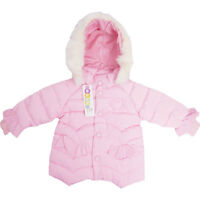 Pink Kids Girls Padded Warm Coat Jacket Fur Collar Outerwear Gift Winter