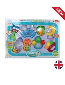 Baby Rattle Jingle Shaking Rock Bell Rattle Tether Toddler Music Activity Toy
