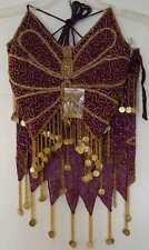 New_Gorgeous_Embroidered Belly Dance Butterfly Beaded with Coins Set_Purple