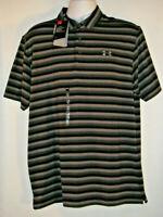UNDER ARMOUR UA Golf Heat Gear Loose Polo Shirt Men's L NWT UPF 30 Black Stripe