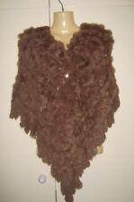 Ladies Brown Real Genuine Rabbit Fur Pom Pom Poncho Stole