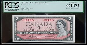 1954 Bank of Canada $2 Replacement Note *A/G3238127 PCGS GEM UNC66 PPQ BC-38cA