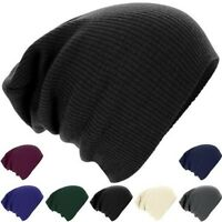 Mens Ladies Winter Knitted Woolly Oversized Slouch Beanie Hat Cap Skateboard