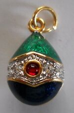 Russian Egg Pendant Imperial Blue and Green Faberge Inspired Egg Pendant-Russia