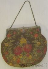 antique Edwardian French TAPESTRY PURSE fine woven floral rose