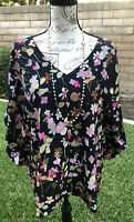 CAbi Charm Blouse Black Pink Lined Floral V Neck Blouse Top Tunic Popover XL NWT