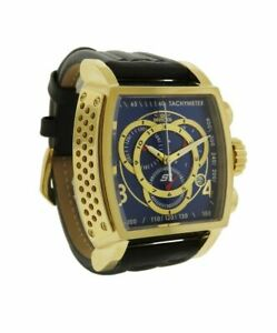 Invicta S1 Rally 20243 Men's Blue Tonneau Analog Chronograph Date Leather Watch