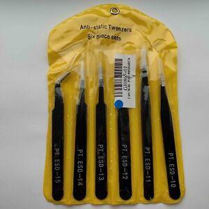 Anti-static Tweezers Six Piece Set Size 10-15