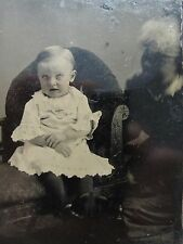 ANTIQUE AMERICAN HIDDEN EYES MOTHER UNUSUAL ARTISTIC BABY BLUE TINTYPE PHOTO