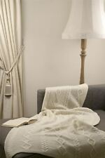 "Diamond Aran Style 100% Merino Wool 39"" x 70"" Throw Blanket [Ecru White]"