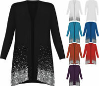 New Plus Size Ladies Sequin Open Cardigan Long Sleeve Womens Sparkle Top 12-30