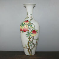 Chinese Old Marked Famille Rose Colored Peaches & Bats Pattern Porcelain Vase