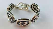 "RETIRED Sterling Silver 925 SILPADA Swirl Large Oval Link Toggle 7.5"" Bracelet"