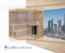 Sauna Finnische Sauna aus Lindenholz mit Glasfront, Harvia Technik Modell 14L01R