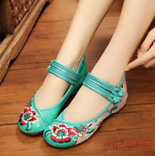 Women Sweet Loafter Chinese Embroidery Floral Flat Heels Round Toe Strappy Shoes