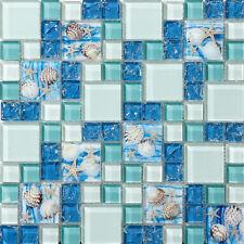 Azure Glass Mosaic Art Tile TSTGT370 Backsplash Bath Tub Ocean Blue Beach Style