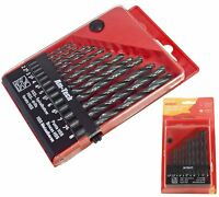 13 Piece Drill Bit Set Kit Wood Metal Plastic HSS High Speed Steel In Case Box