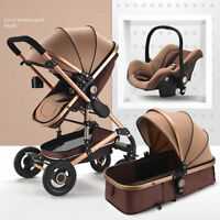 Baby Stroller Foldable Safety High View Bassinet Car Seat 3in1 Pushchairs Beige