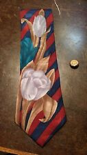 Botany 500 Red Navy Stripe Tulip Floral Leaf Mens Necktie Free Shipping
