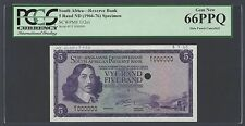 South Africa 5 Rand ND(1966) P112s1 Signature 4 Specimen Uncirculated