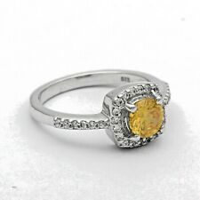 925 Sterling Silver Yellow Color Gemstone Solitaire Accents Halo Side Stone Ring