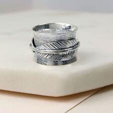 Spinner Ring Sterling Silver band feather thumb finger spinning motion ring