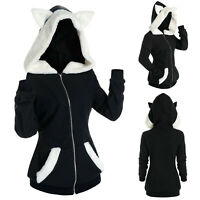 Women Long Sleeve Cosplay Cat Ear Faux Furs Insert Zip Up Hoodie Sweatshirt