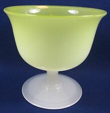 Steuben or Stevens & Williams Yellow Jade & Alabaster Compote Bowl