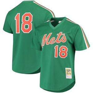 MITCHELL & NESS Green New York Mets #18 Strawberry BATTING PRACTICE MESH JERSEY