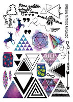 Colorful Temporary Tattoo Stickers Body Art Set with small Triangle Deer Words