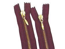 "Piranha Brass Zipper 21"" Burgundy Wine #4.5 Closed end Pendulum Puller #Z10"