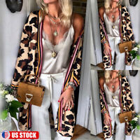US Womens Leopard Cardigan Open Front Bohemia Long Sleeve Long Maxi Jacket 6-14