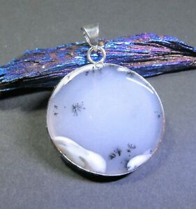 SALE Dendritic Opal Natural 46Ct Gemstone Wrapped in Sterling Silver