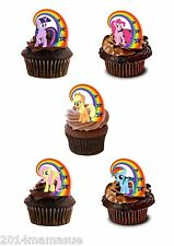 24 PRECUT MY LITTLE PONY RAINBOW STAND UP EDIBLE CUPCAKE WAFER RICE CARD TOPPERS