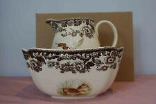 More details for spode woodland birds salad/serving bowl & large pitcher, dishwasher safe