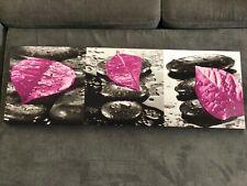 CADRE DECORATION ZEN GALETS + FLEUR 90 x 30 CM ROSE