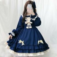 Japanese Girl Daily Sweet Princess Dress Lolita Cute Long Sleeve Skirt One Piece