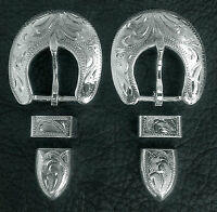 "2 - 5/8"" Hand Engraved Silver Plated Buckle Sets - Spur Straps Headstall      #7"