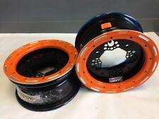 DWT ROK'N LOCK Front Orange Beadlock Rims 10 10x5 4/156 3+2 Yamaha Raptor 660