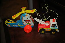 FISHER PRICE TOY # 718 TOW TRUCK TOWING FISHER PRICE MINI COPTER # 418 TO SHOP