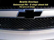 (2) Black Vinyl Sheets Wrap Chevy Universal Bowtie Emblem Overlay Cover Decal