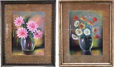 HOLLAND - 2 PENDANT PASTEL PAINTINGS OF FLOWERS by H. VAN WIJNGAARDEN – DUTCH