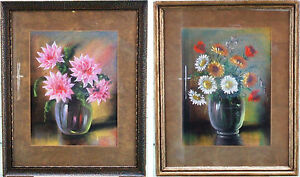 HOLLAND - 2 PENDANT PASTEL PAINTINGS OF FLOWERS by H. VAN WIJNGAARDEN – DUTCH