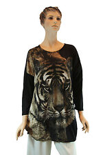 Ladies Womens Round Neck Brown Beige Pullover Long Sleeve Animal Tiger Print Top