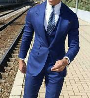 3 Piece Blue Men's Suit Party Prom Business Groom Tuxedos Wedding Suits Custom