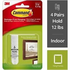 3M Command Adhesive Damage Free Picture Hanging Strips, White - 6 Sets - Medium