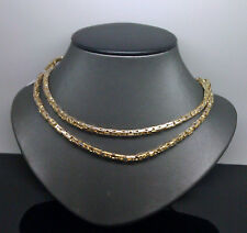 For Men's 10K Two Tone Solid Byzantine Chain With Diamond Cuts #32#